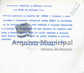 Documentos de receita e despesa do parque do ano de 1932