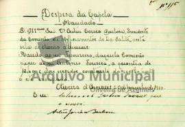 Documentos de receita e despesa da capela do ano de 1933